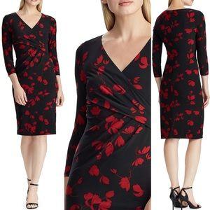 Ralph Lauren Black & Red Floral V-neck Wrap Dress